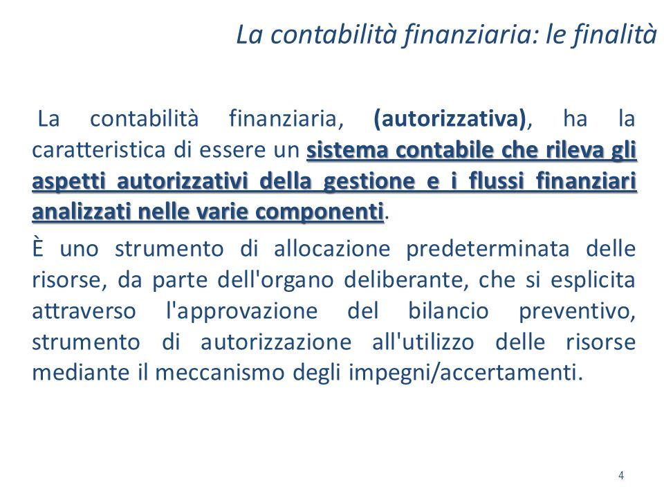 La contabilità finanziaria: le finalità sistema contabile che rileva gli aspetti autorizzativi della gestione e i flussi finanziari analizzati nelle v