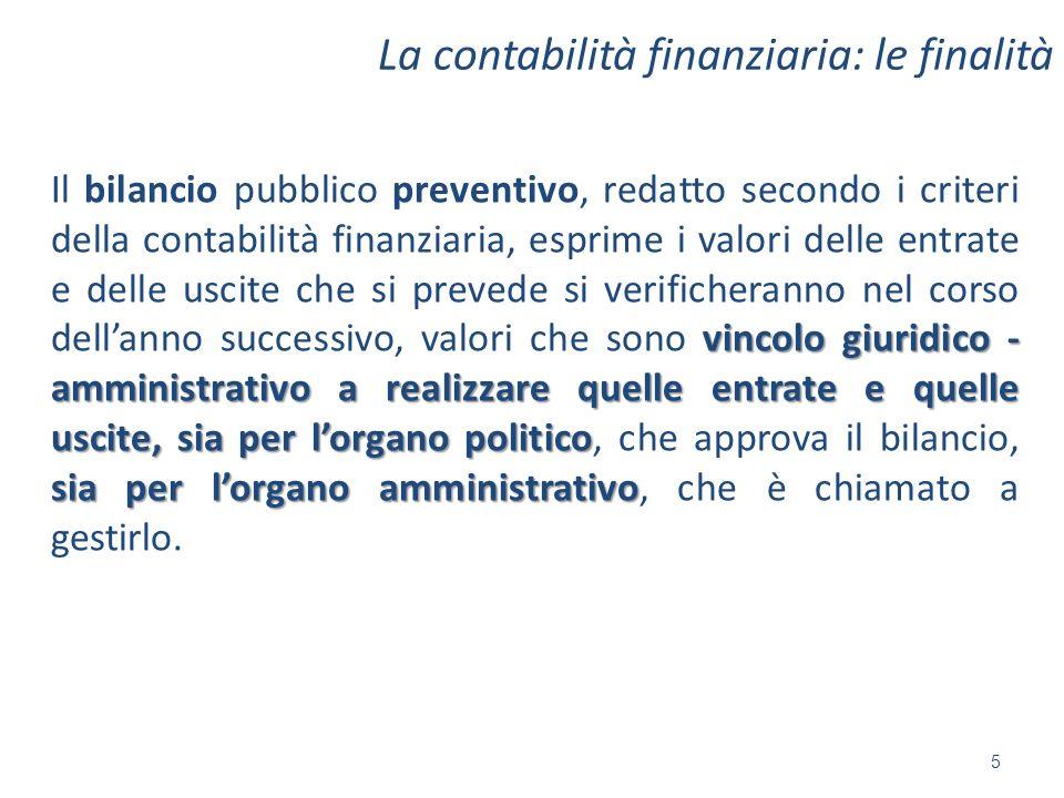 La contabilità finanziaria: le finalità vincolo giuridico - amministrativo a realizzare quelle entrate e quelle uscite, sia per lorgano politico sia p