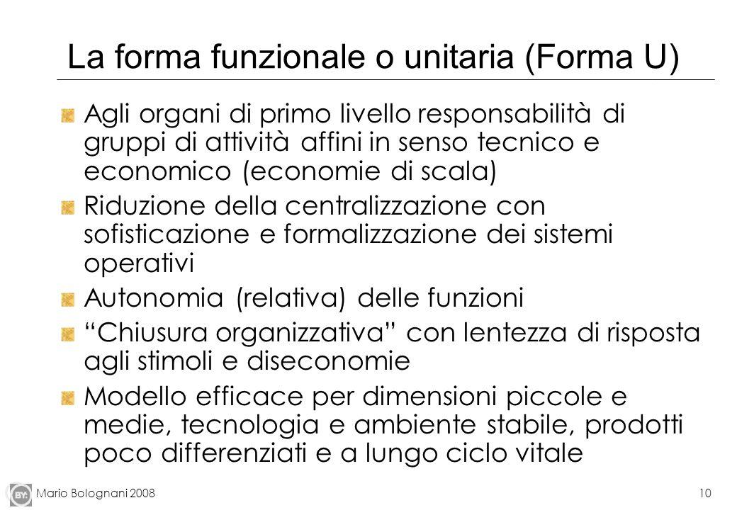 Mario Bolognani 200810 La forma funzionale o unitaria (Forma U) Agli organi di primo livello responsabilità di gruppi di attività affini in senso tecn