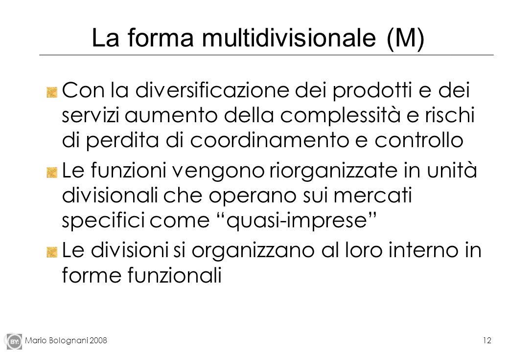 Mario Bolognani 200812 La forma multidivisionale (M) Con la diversificazione dei prodotti e dei servizi aumento della complessità e rischi di perdita