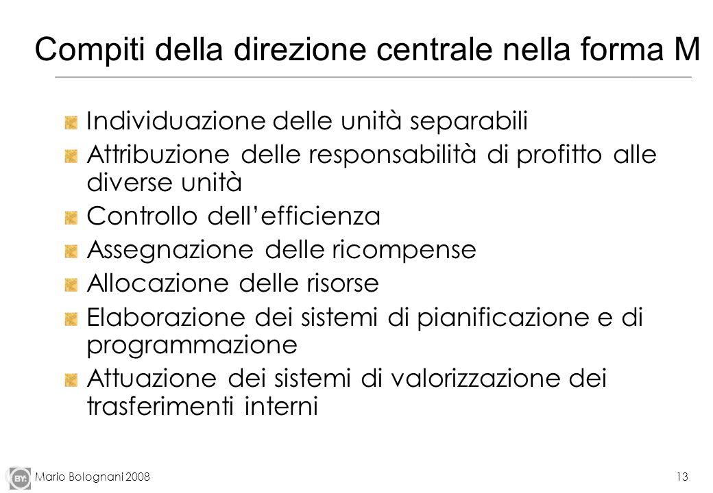 Mario Bolognani 200813 Compiti della direzione centrale nella forma M Individuazione delle unità separabili Attribuzione delle responsabilità di profi