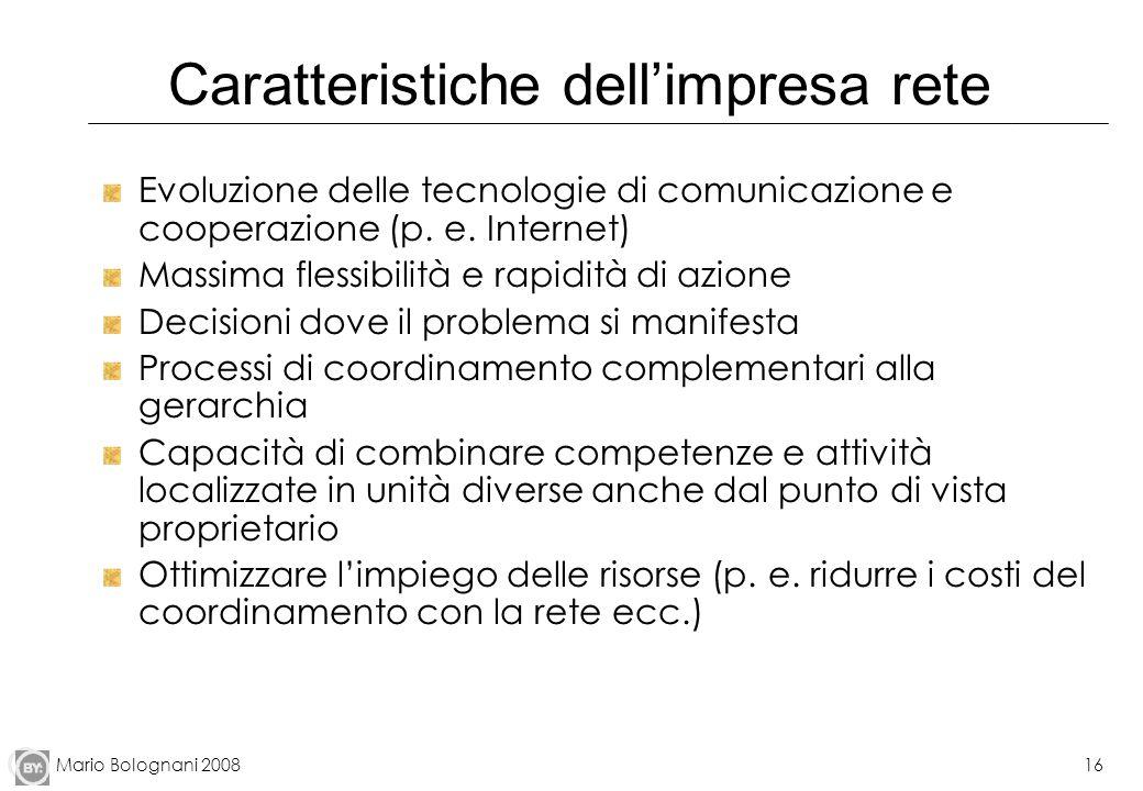 Mario Bolognani 200816 Caratteristiche dellimpresa rete Evoluzione delle tecnologie di comunicazione e cooperazione (p. e. Internet) Massima flessibil