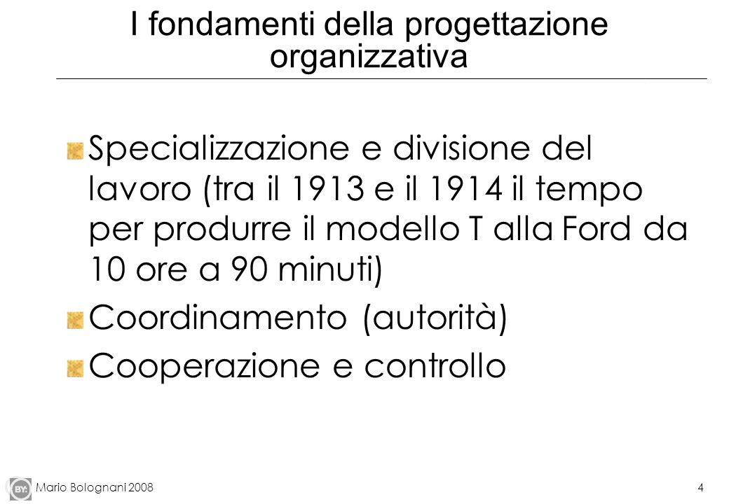 Mario Bolognani 20084 I fondamenti della progettazione organizzativa Specializzazione e divisione del lavoro (tra il 1913 e il 1914 il tempo per produ