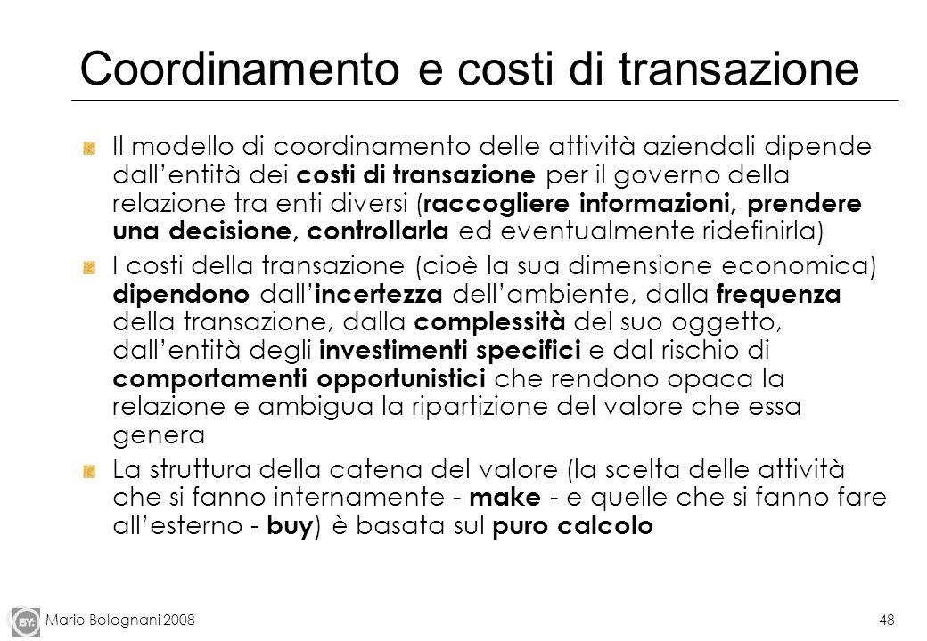 Mario Bolognani 200848 Coordinamento e costi di transazione Il modello di coordinamento delle attività aziendali dipende dallentità dei costi di trans