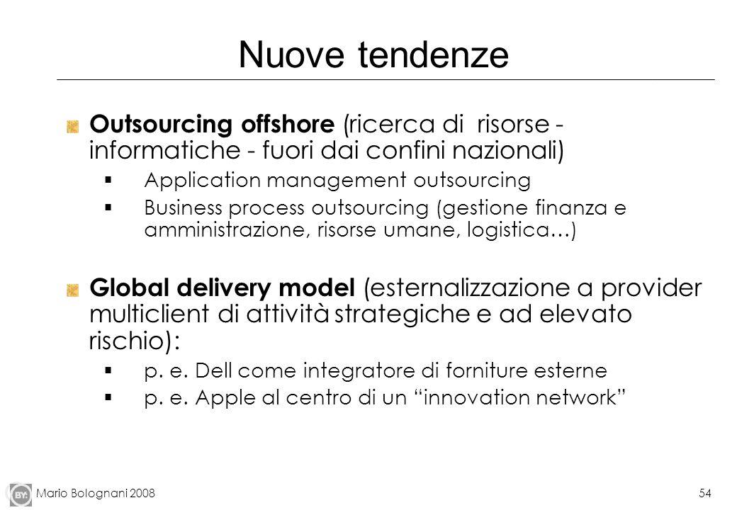 Mario Bolognani 200854 Nuove tendenze Outsourcing offshore (ricerca di risorse - informatiche - fuori dai confini nazionali) Application management ou