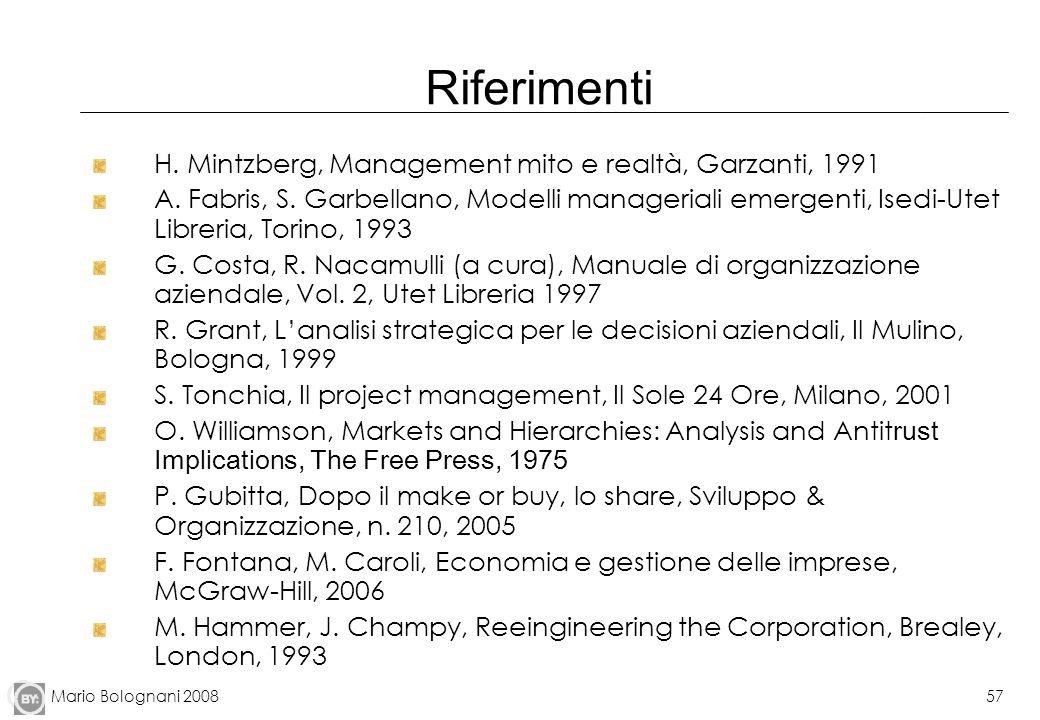 Mario Bolognani 200857 Riferimenti H. Mintzberg, Management mito e realtà, Garzanti, 1991 A. Fabris, S. Garbellano, Modelli manageriali emergenti, Ise