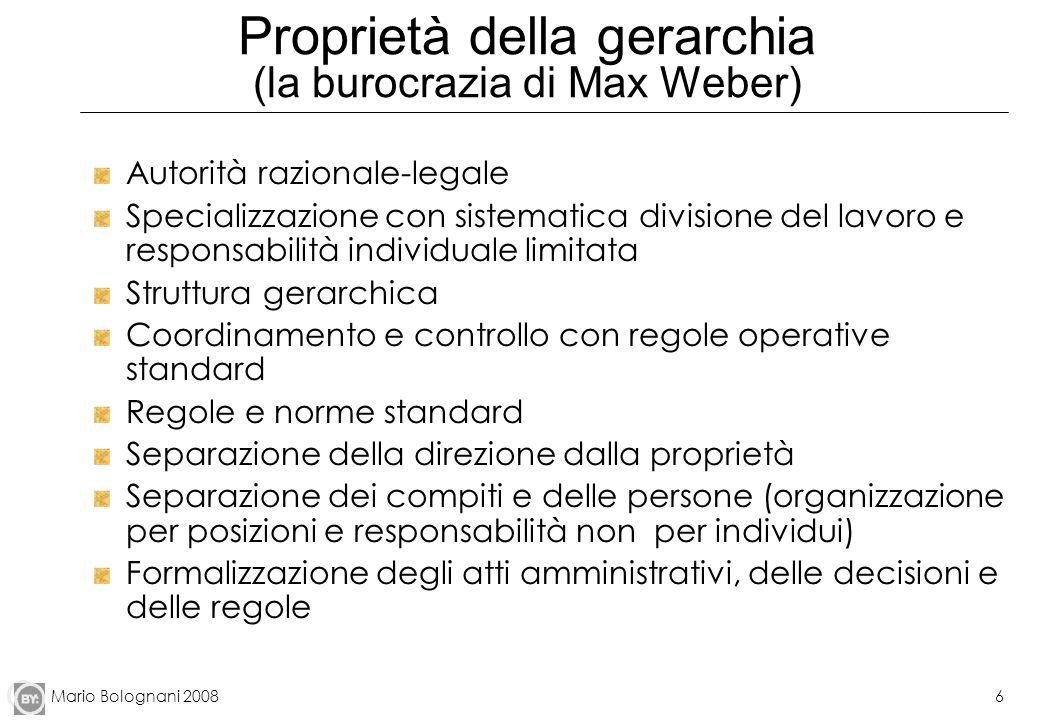 Mario Bolognani 20086 Proprietà della gerarchia (la burocrazia di Max Weber) Autorità razionale-legale Specializzazione con sistematica divisione del