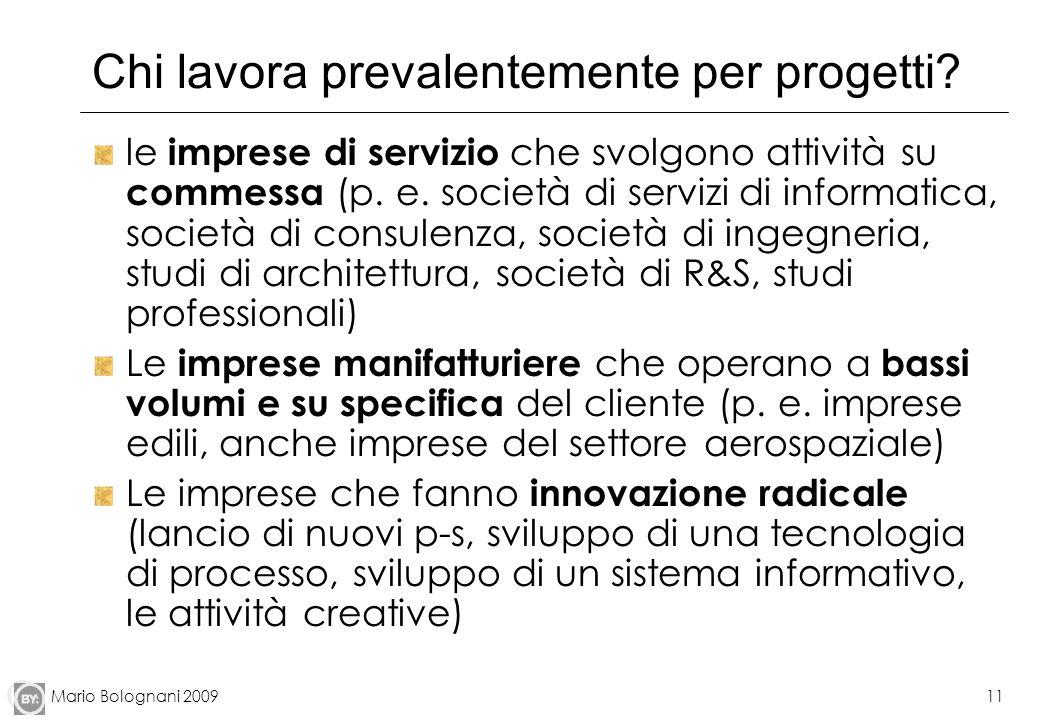 Mario Bolognani 200911 Chi lavora prevalentemente per progetti? le imprese di servizio che svolgono attività su commessa (p. e. società di servizi di