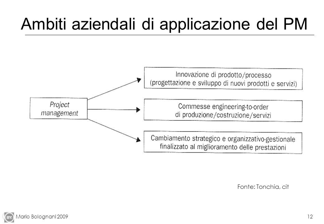 Mario Bolognani 200912 Ambiti aziendali di applicazione del PM Fonte: Tonchia, cit