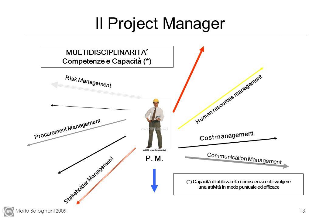 Mario Bolognani 200913 Il Project Manager Risk Management Procurement Management Stakeholder Management P. M. Communication Management Cost management
