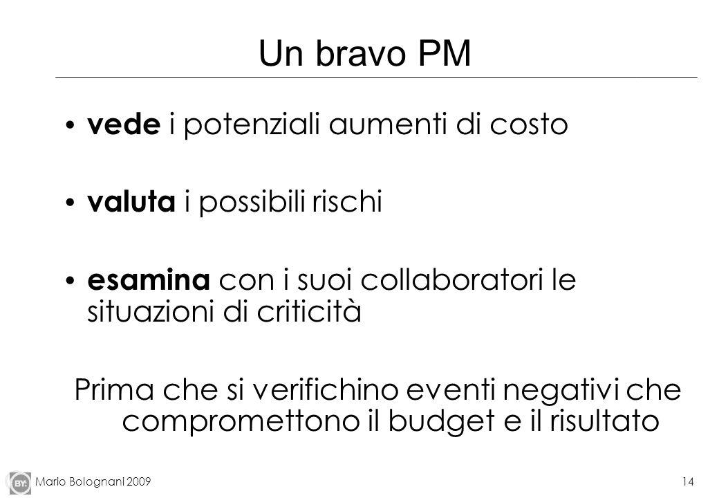 Mario Bolognani 200914 Un bravo PM vede i potenziali aumenti di costo valuta i possibili rischi esamina con i suoi collaboratori le situazioni di crit