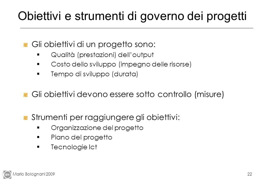 Mario Bolognani 200922 Obiettivi e strumenti di governo dei progetti Gli obiettivi di un progetto sono: Qualità (prestazioni) delloutput Costo dello s