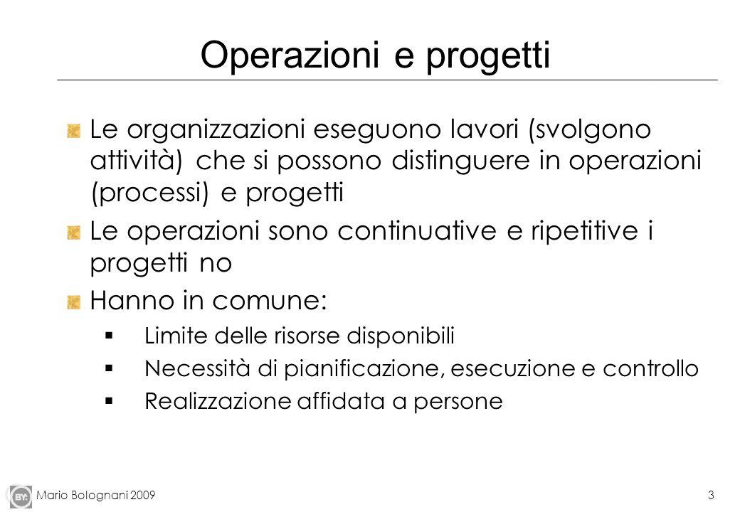 Mario Bolognani 20093 Operazioni e progetti Le organizzazioni eseguono lavori (svolgono attività) che si possono distinguere in operazioni (processi)