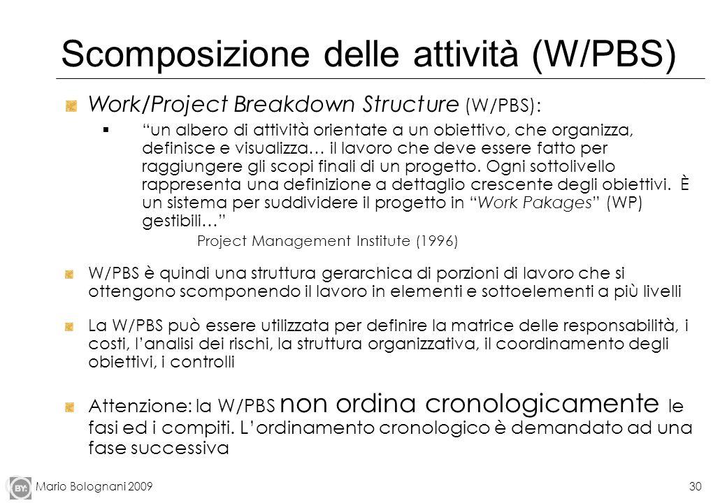 Mario Bolognani 200930 Scomposizione delle attività (W/PBS) Work/Project Breakdown Structure (W/PBS): un albero di attività orientate a un obiettivo,
