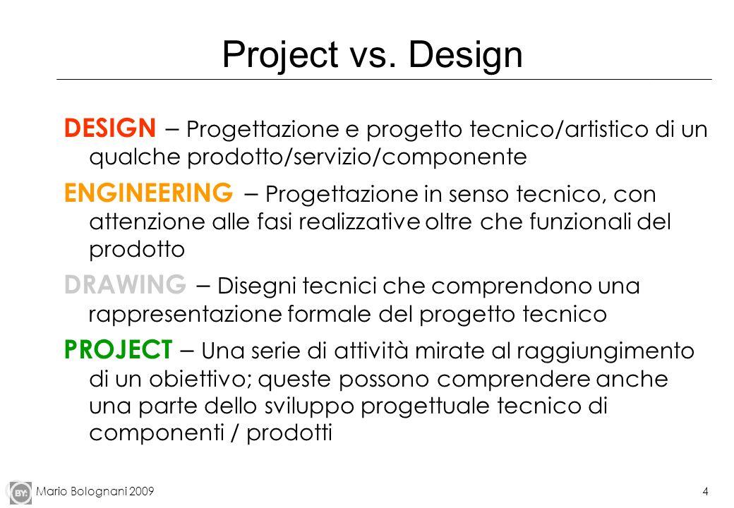 Mario Bolognani 20094 Project vs. Design DESIGN – Progettazione e progetto tecnico/artistico di un qualche prodotto/servizio/componente ENGINEERING –