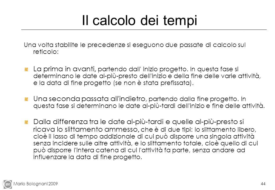 Mario Bolognani 200944 Il calcolo dei tempi Una volta stabilite le precedenze si eseguono due passate di calcolo sul reticolo: La prima in avanti, par