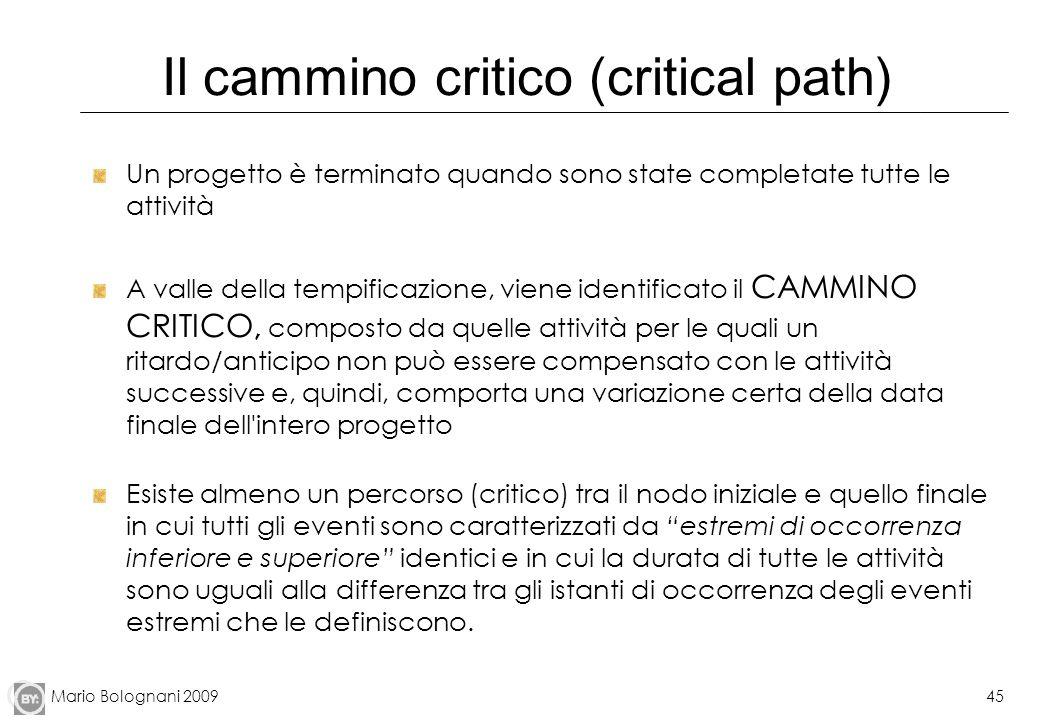 Mario Bolognani 200945 Il cammino critico (critical path) Un progetto è terminato quando sono state completate tutte le attività A valle della tempifi