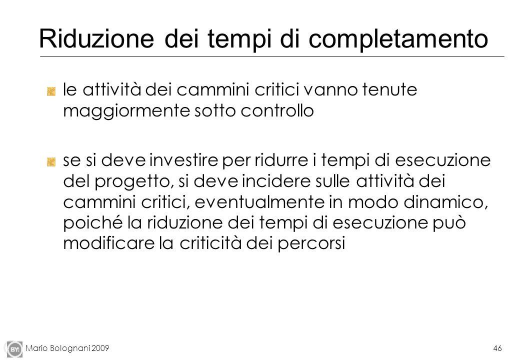 Mario Bolognani 200946 Riduzione dei tempi di completamento le attività dei cammini critici vanno tenute maggiormente sotto controllo se si deve inves