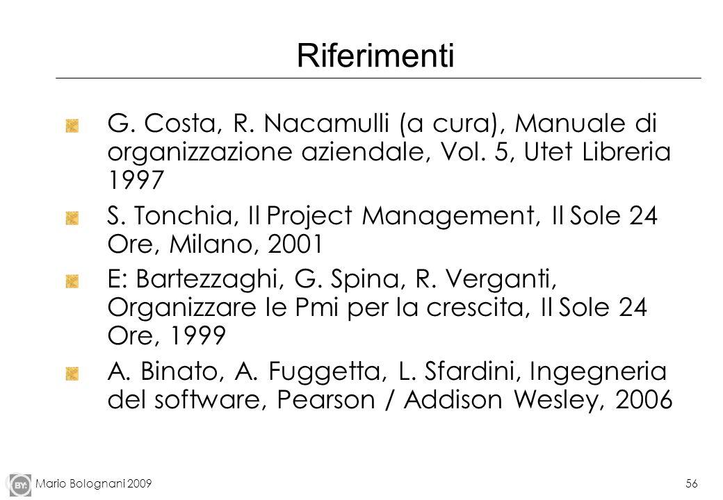 Mario Bolognani 200956 Riferimenti G. Costa, R. Nacamulli (a cura), Manuale di organizzazione aziendale, Vol. 5, Utet Libreria 1997 S. Tonchia, Il Pro