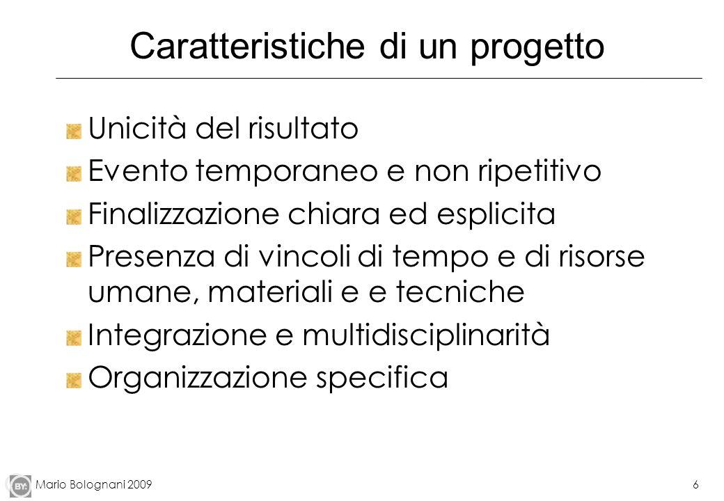 Mario Bolognani 20096 Caratteristiche di un progetto Unicità del risultato Evento temporaneo e non ripetitivo Finalizzazione chiara ed esplicita Prese