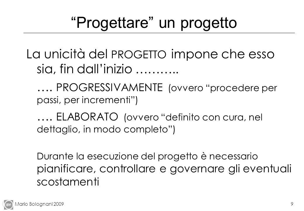Mario Bolognani 20099 Progettare un progetto La unicità del PROGETTO impone che esso sia, fin dallinizio ……….. …. PROGRESSIVAMENTE (ovvero procedere p