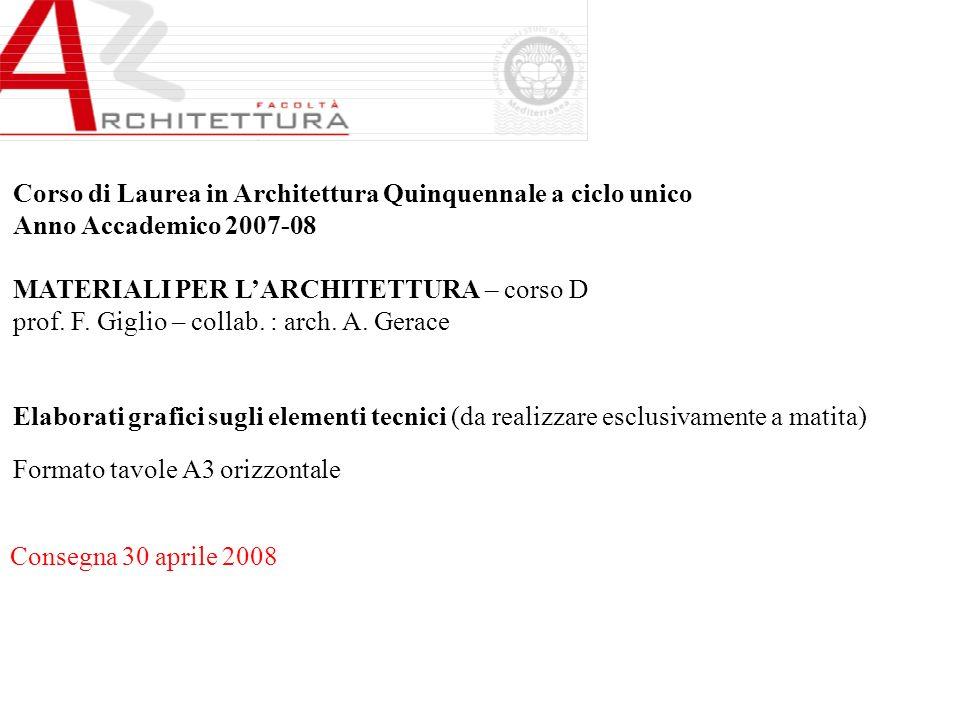 Corso di Laurea in Architettura Quinquennale a ciclo unico Anno Accademico 2007-08 MATERIALI PER LARCHITETTURA – corso D prof. F. Giglio – collab. : a