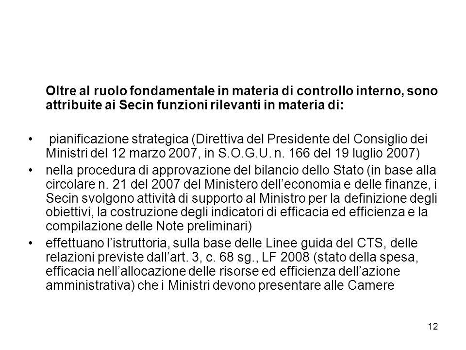 12 Oltre al ruolo fondamentale in materia di controllo interno, sono attribuite ai Secin funzioni rilevanti in materia di: pianificazione strategica (