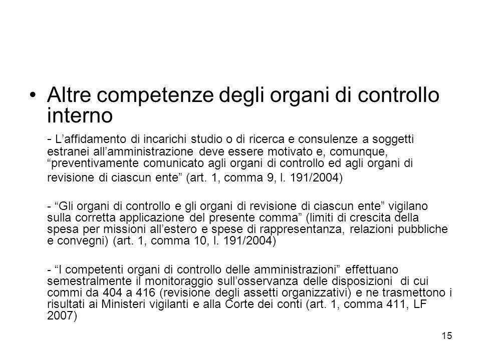 15 Altre competenze degli organi di controllo interno - Laffidamento di incarichi studio o di ricerca e consulenze a soggetti estranei allamministrazi
