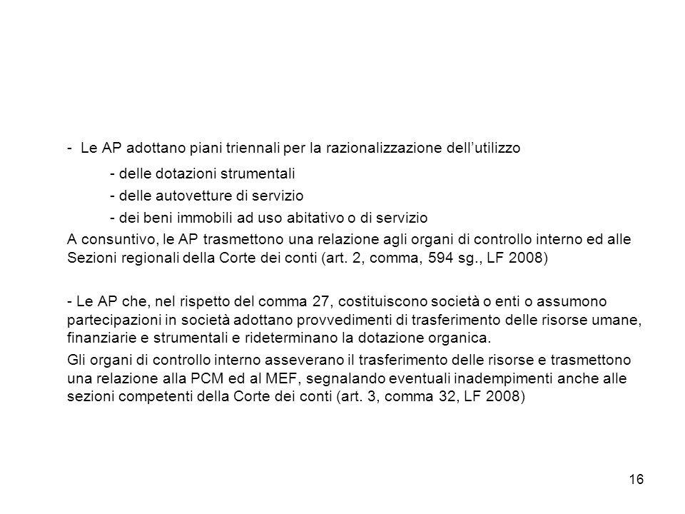 16 - Le AP adottano piani triennali per la razionalizzazione dellutilizzo - delle dotazioni strumentali - delle autovetture di servizio - dei beni imm