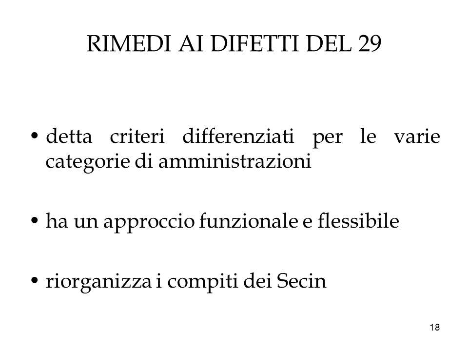 18 RIMEDI AI DIFETTI DEL 29 detta criteri differenziati per le varie categorie di amministrazioni ha un approccio funzionale e flessibile riorganizza