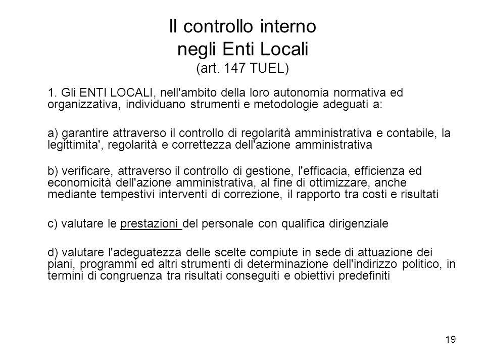 19 Il controllo interno negli Enti Locali (art. 147 TUEL) 1. Gli ENTI LOCALI, nell'ambito della loro autonomia normativa ed organizzativa, individuano