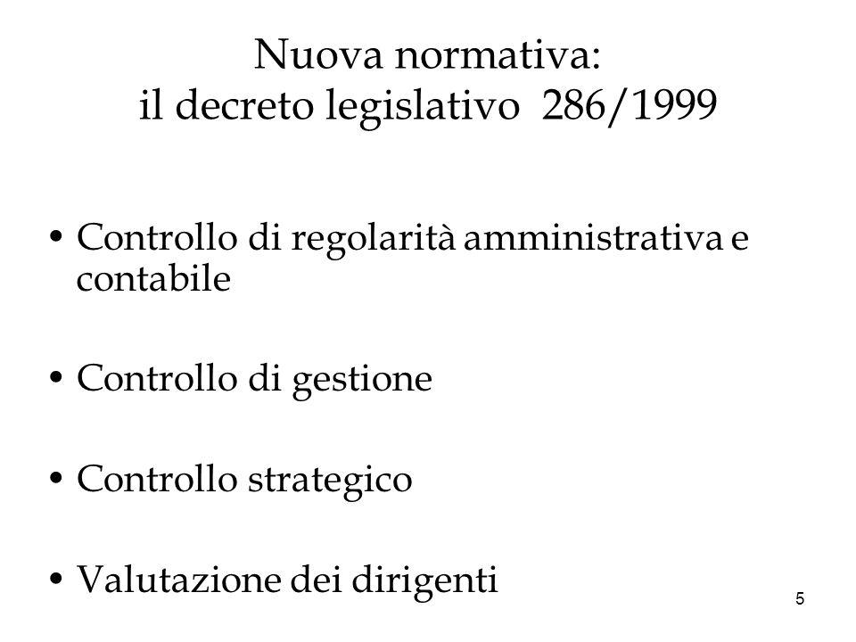 5 Nuova normativa: il decreto legislativo 286/1999 Controllo di regolarità amministrativa e contabile Controllo di gestione Controllo strategico Valut
