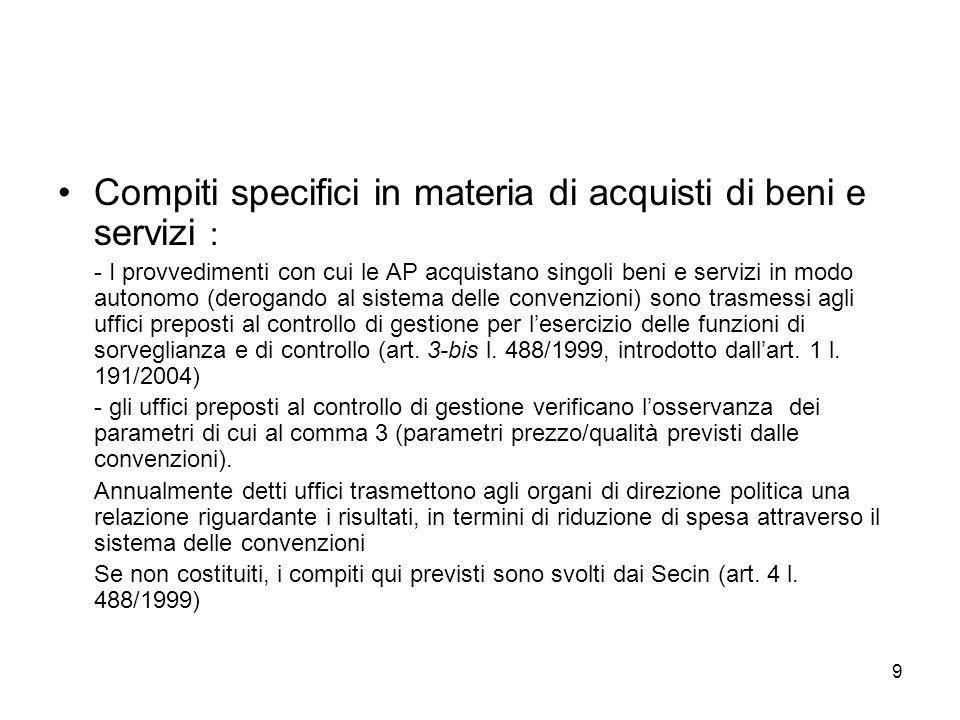 9 Compiti specifici in materia di acquisti di beni e servizi : - I provvedimenti con cui le AP acquistano singoli beni e servizi in modo autonomo (der