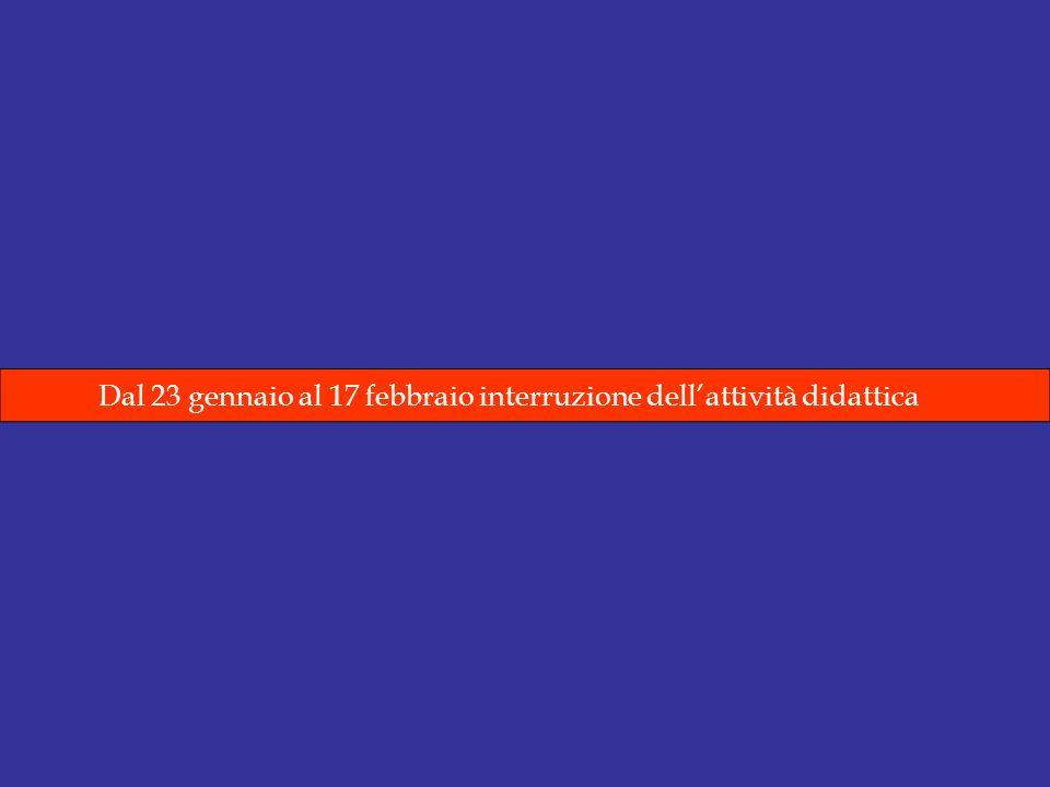 Dal 23 gennaio al 17 febbraio interruzione dellattività didattica