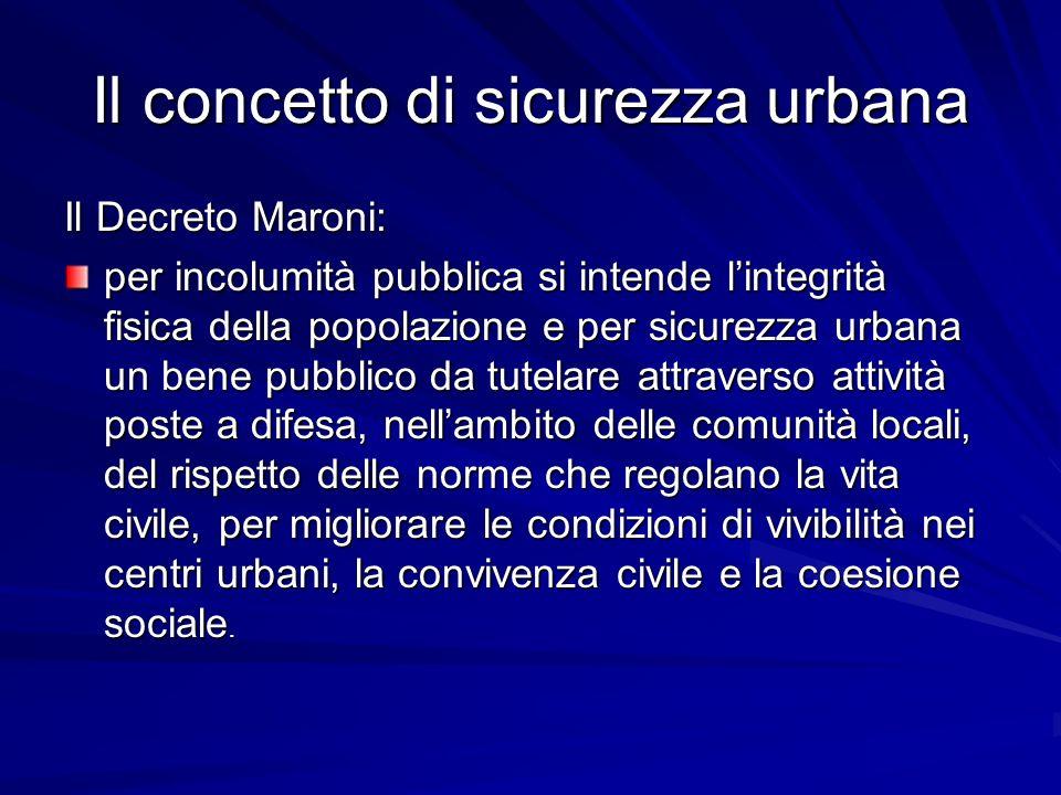 Il concetto di sicurezza urbana Il Decreto Maroni: per incolumità pubblica si intende lintegrità fisica della popolazione e per sicurezza urbana un be