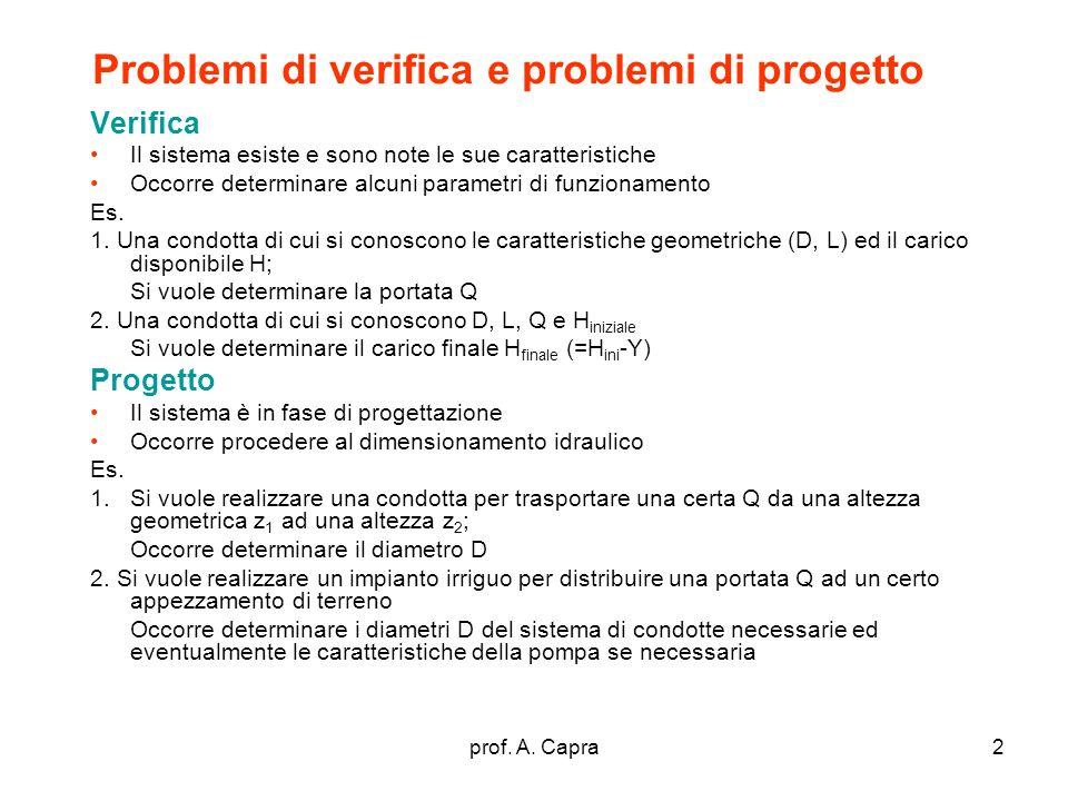 prof. A. Capra2 Problemi di verifica e problemi di progetto Verifica Il sistema esiste e sono note le sue caratteristiche Occorre determinare alcuni p