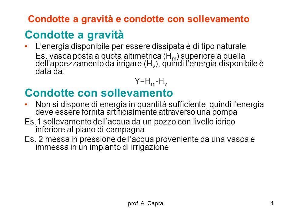 prof. A. Capra4 Condotte a gravità e condotte con sollevamento Condotte a gravità Lenergia disponibile per essere dissipata è di tipo naturale Es. vas