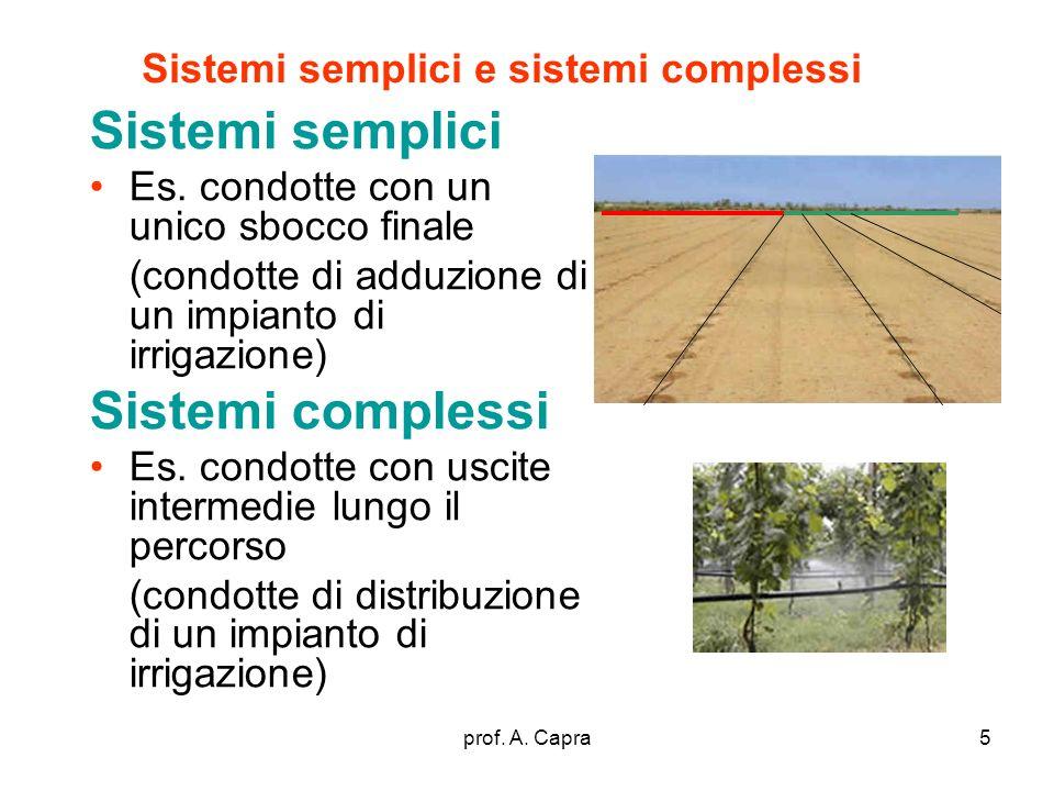 prof. A. Capra5 Sistemi semplici e sistemi complessi Sistemi semplici Es. condotte con un unico sbocco finale (condotte di adduzione di un impianto di