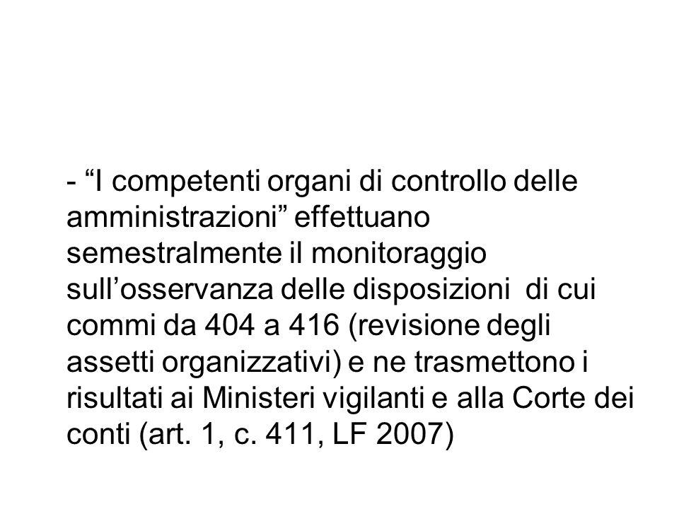 - I competenti organi di controllo delle amministrazioni effettuano semestralmente il monitoraggio sullosservanza delle disposizioni di cui commi da 4
