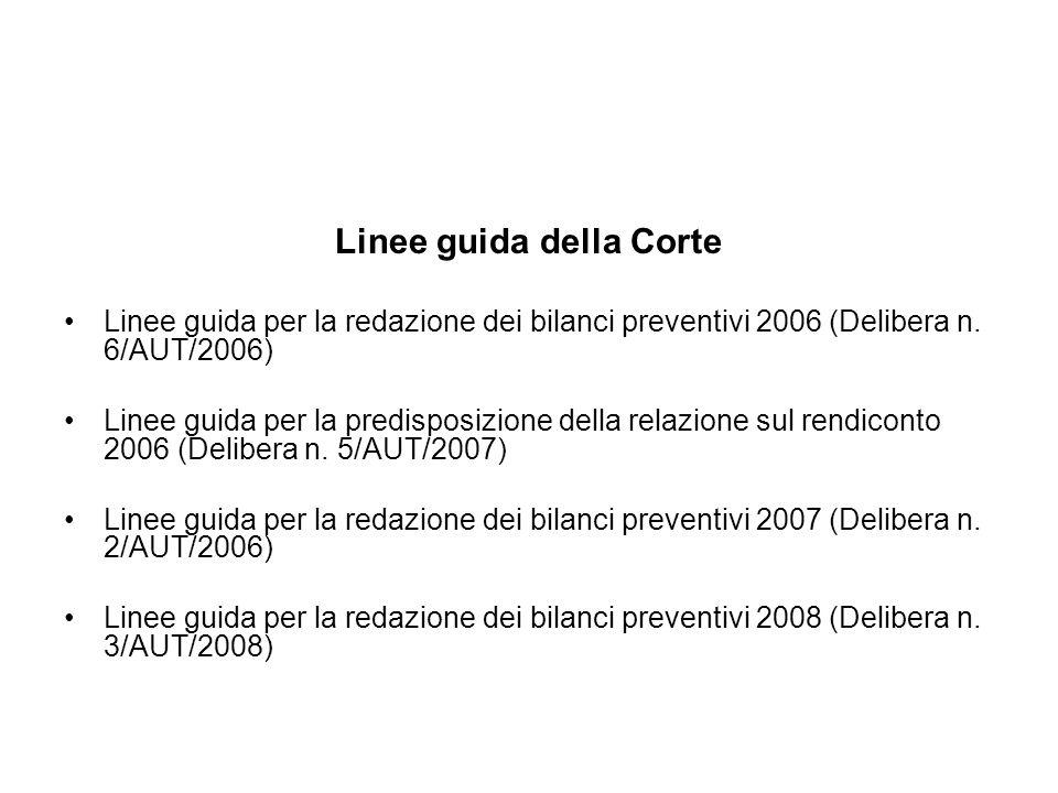 Linee guida della Corte Linee guida per la redazione dei bilanci preventivi 2006 (Delibera n. 6/AUT/2006) Linee guida per la predisposizione della rel