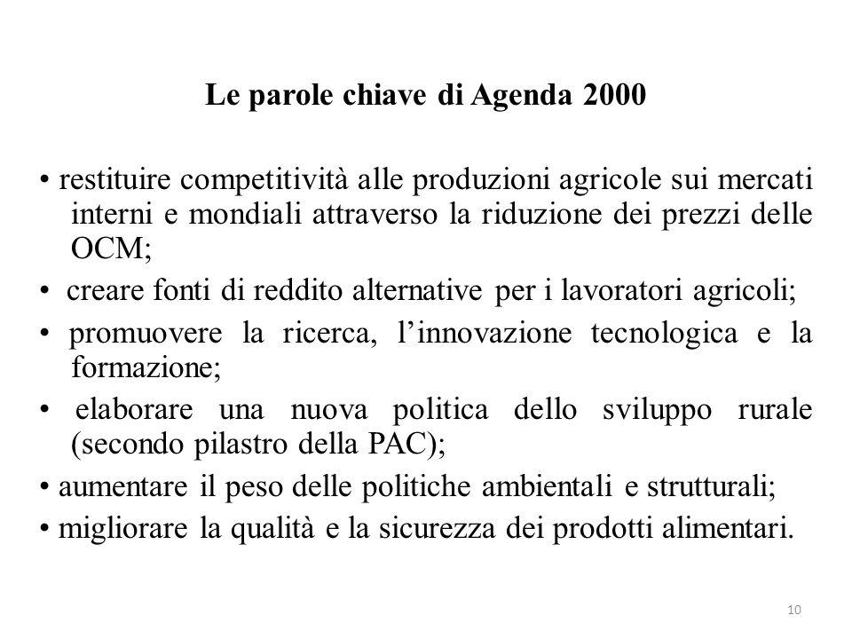 10 Le parole chiave di Agenda 2000 restituire competitività alle produzioni agricole sui mercati interni e mondiali attraverso la riduzione dei prezzi