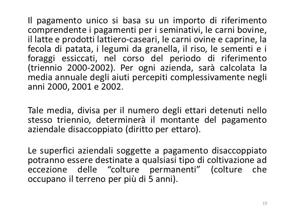 19 Il pagamento unico si basa su un importo di riferimento comprendente i pagamenti per i seminativi, le carni bovine, il latte e prodotti lattiero-ca