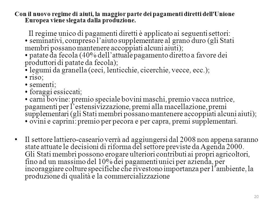 20 Con il nuovo regime di aiuti, la maggior parte dei pagamenti diretti dell'Unione Europea viene slegata dalla produzione. Il regime unico di pagamen