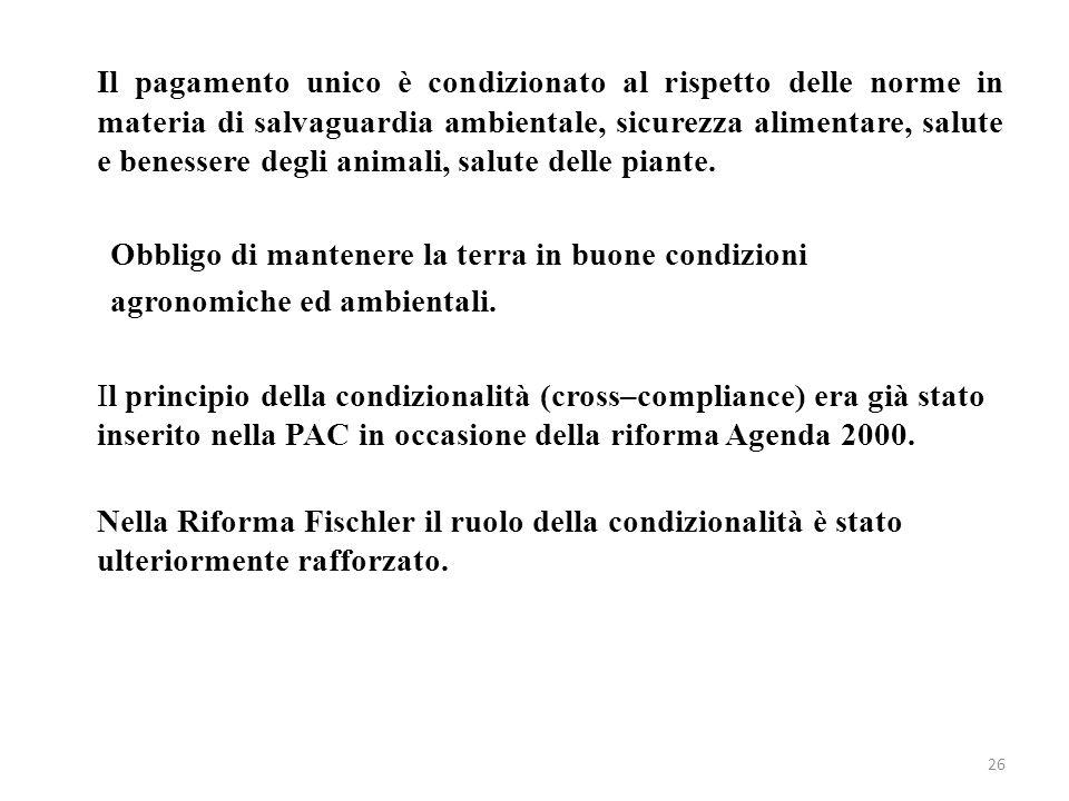 26 Il pagamento unico è condizionato al rispetto delle norme in materia di salvaguardia ambientale, sicurezza alimentare, salute e benessere degli ani