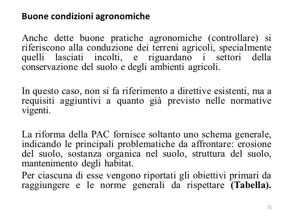 31 Buone condizioni agronomiche Anche dette buone pratiche agronomiche (controllare) si riferiscono alla conduzione dei terreni agricoli, specialmente