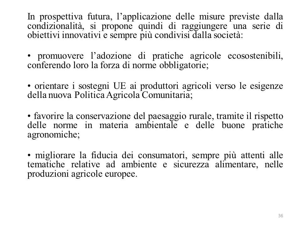 36 In prospettiva futura, lapplicazione delle misure previste dalla condizionalità, si propone quindi di raggiungere una serie di obiettivi innovativi