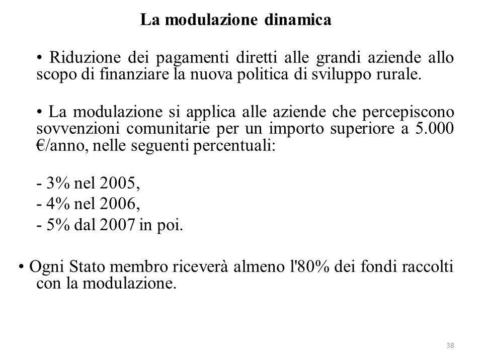 38 La modulazione dinamica Riduzione dei pagamenti diretti alle grandi aziende allo scopo di finanziare la nuova politica di sviluppo rurale. La modul