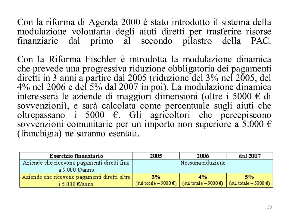 39 Con la riforma di Agenda 2000 è stato introdotto il sistema della modulazione volontaria degli aiuti diretti per trasferire risorse finanziarie dal