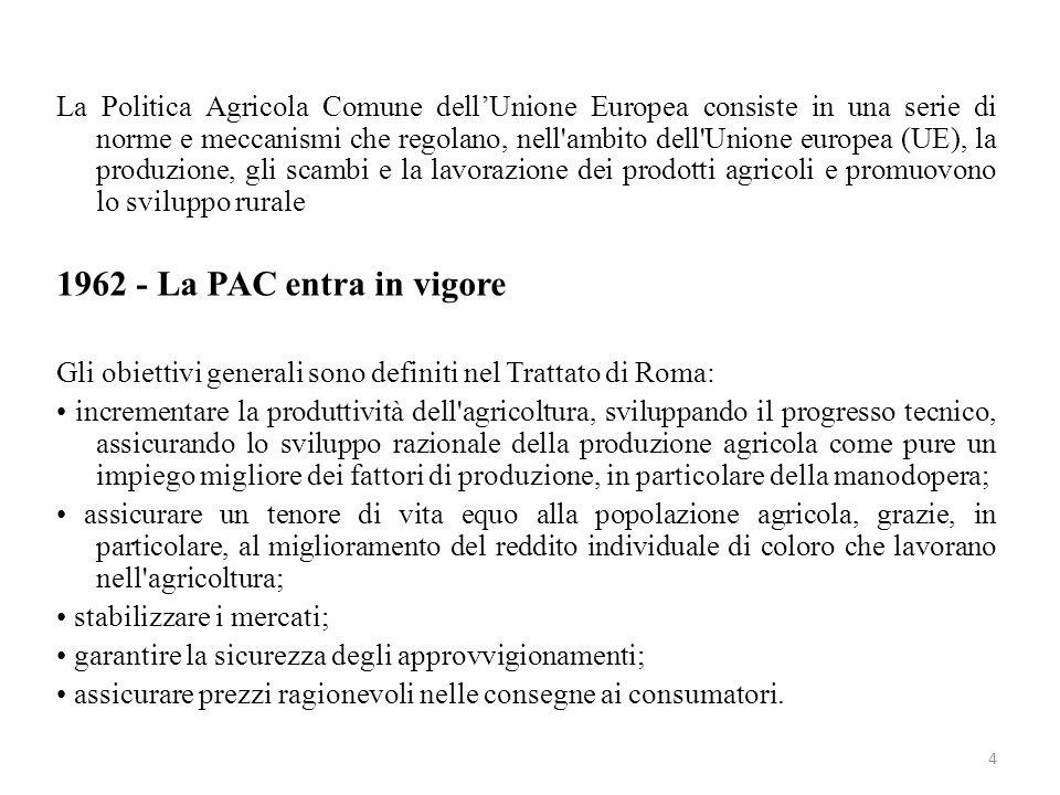 4 La Politica Agricola Comune dellUnione Europea consiste in una serie di norme e meccanismi che regolano, nell'ambito dell'Unione europea (UE), la pr