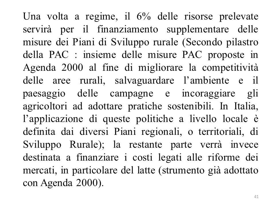 41 Una volta a regime, il 6% delle risorse prelevate servirà per il finanziamento supplementare delle misure dei Piani di Sviluppo rurale (Secondo pil